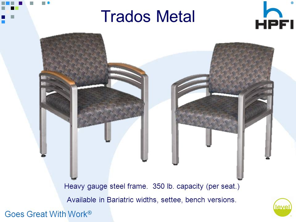 Goes Great With Work ® Heavy gauge steel frame. 350 lb.