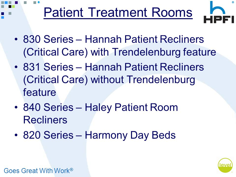 Goes Great With Work ® Patient Treatment Rooms 830 Series – Hannah Patient Recliners (Critical Care) with Trendelenburg feature 831 Series – Hannah Pa
