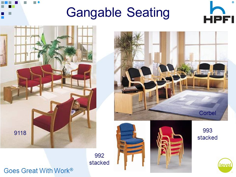 Goes Great With Work ® Gangable Seating 9118 Corbel 993 stacked 992 stacked