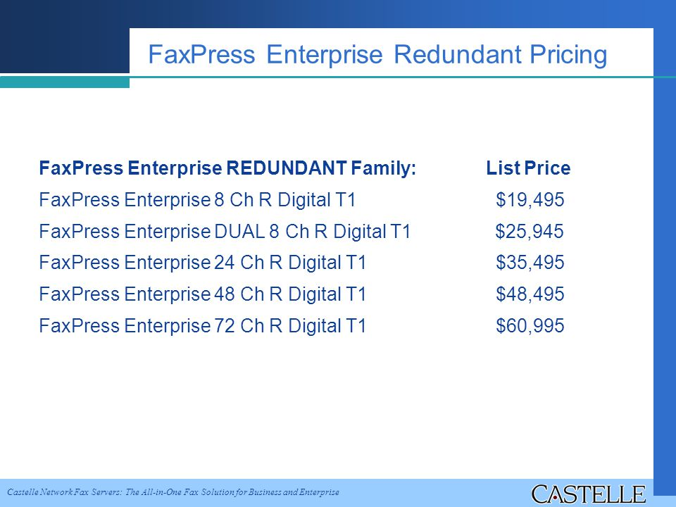 Castelle Network Fax Servers: The All-in-One Fax Solution for Business and Enterprise FaxPress Enterprise Redundant Pricing FaxPress Enterprise REDUNDANT Family: List Price FaxPress Enterprise 8 Ch R Digital T1 $19,495 FaxPress Enterprise DUAL 8 Ch R Digital T1 $25,945 FaxPress Enterprise 24 Ch R Digital T1 $35,495 FaxPress Enterprise 48 Ch R Digital T1 $48,495 FaxPress Enterprise 72 Ch R Digital T1 $60,995