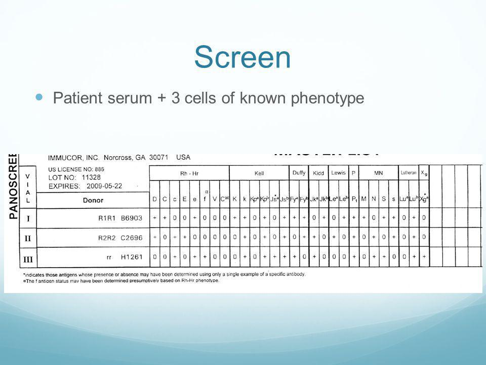 Antibody Screen Determines if pt has antibodies to other major blood groups Requires Combining pt serum with 3 different RBCs with known blood group p