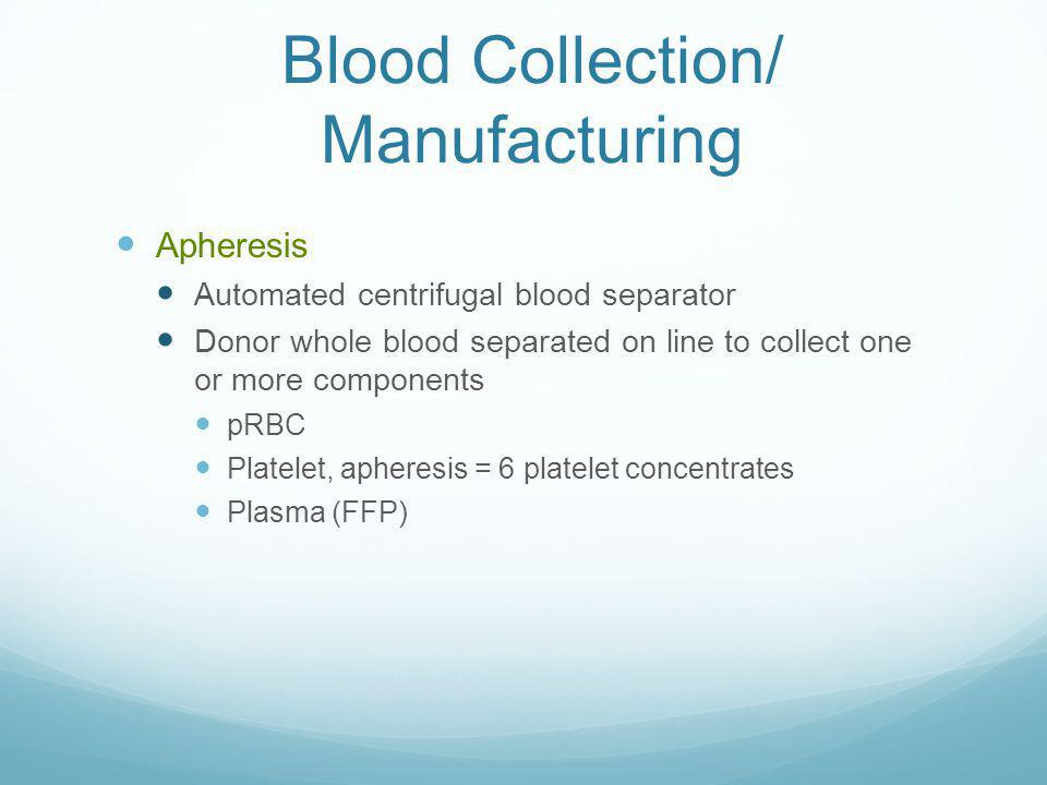 Blood Collection/ Manufacturing