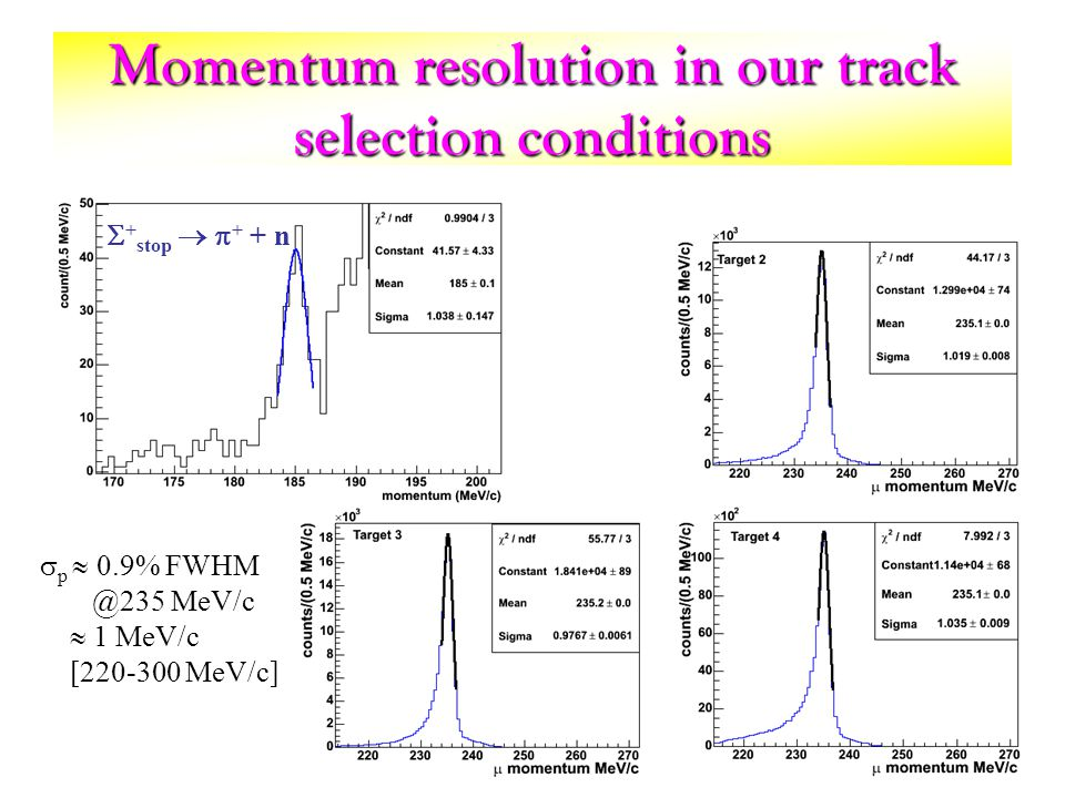Momentum resolution in our track selection conditions + stop + + n p 0.9% FWHM @235 MeV/c 1 MeV/c [220-300 MeV/c]