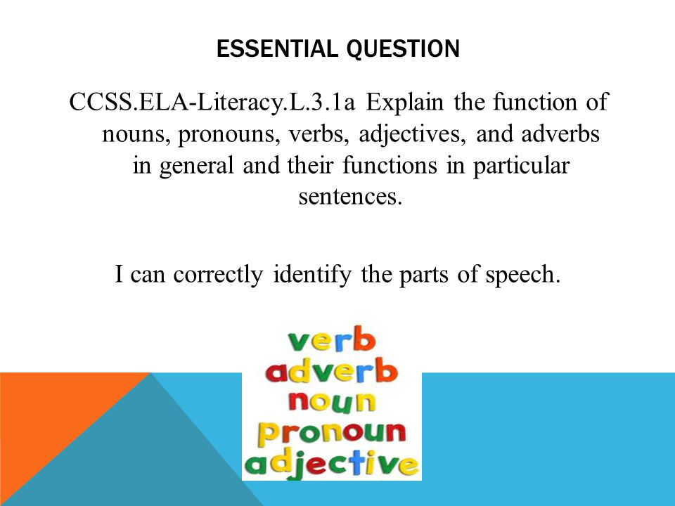 ESSENTIAL QUESTION CCSS.ELA-Literacy.L.3.1a Explain the function of nouns, pronouns, verbs, adjectives, and adverbs in general and their functions in particular sentences.