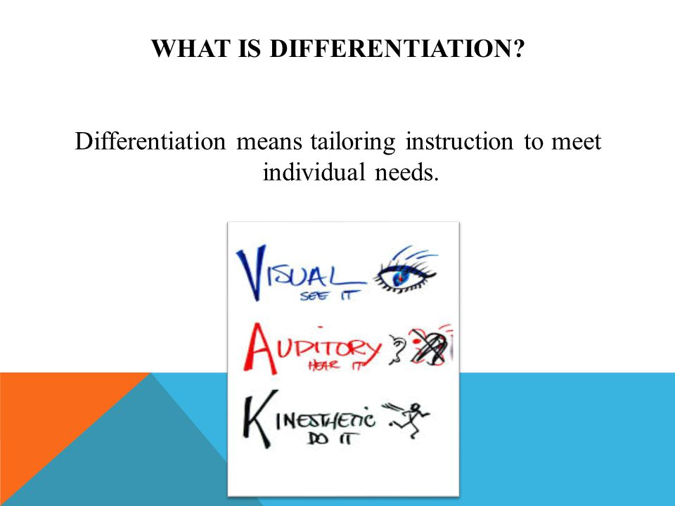WHAT IS DIFFERENTIATION? Differentiation means tailoring instruction to meet individual needs.