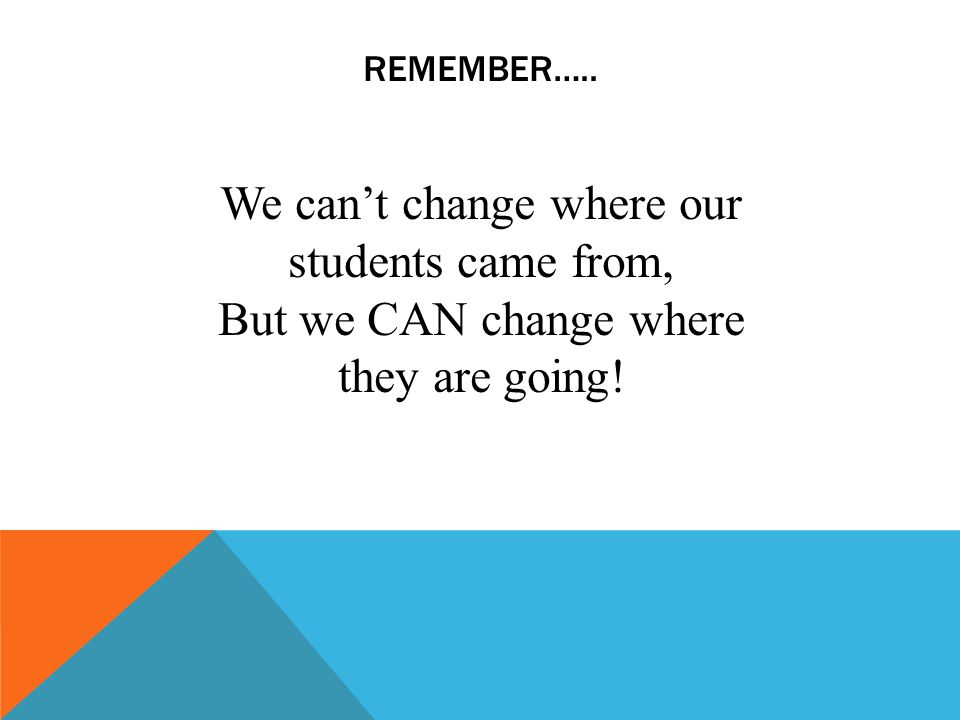 REMEMBER….. We cant change where our students came from, But we CAN change where they are going!