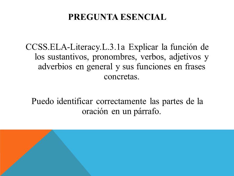 PREGUNTA ESENCIAL CCSS.ELA-Literacy.L.3.1a Explicar la función de los sustantivos, pronombres, verbos, adjetivos y adverbios en general y sus funcione