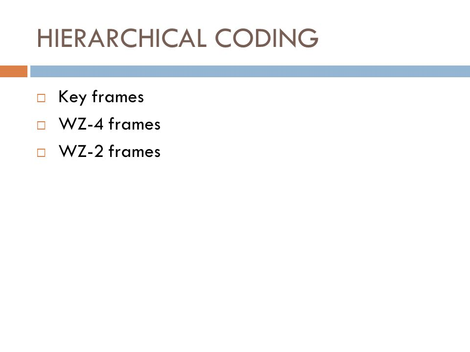 HIERARCHICAL CODING Key frames WZ-4 frames WZ-2 frames