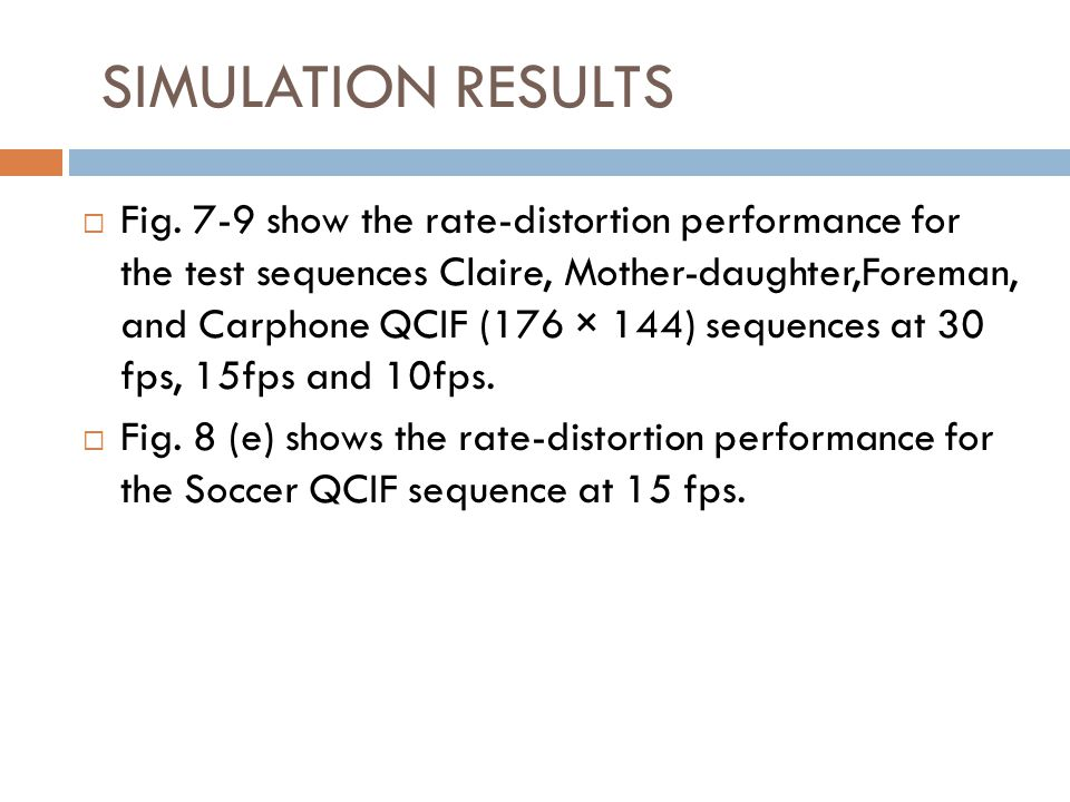 Fig. 7-9 show the rate-distortion performance for the test sequences Claire, Mother-daughter,Foreman, and Carphone QCIF (176 × 144) sequences at 30 fp