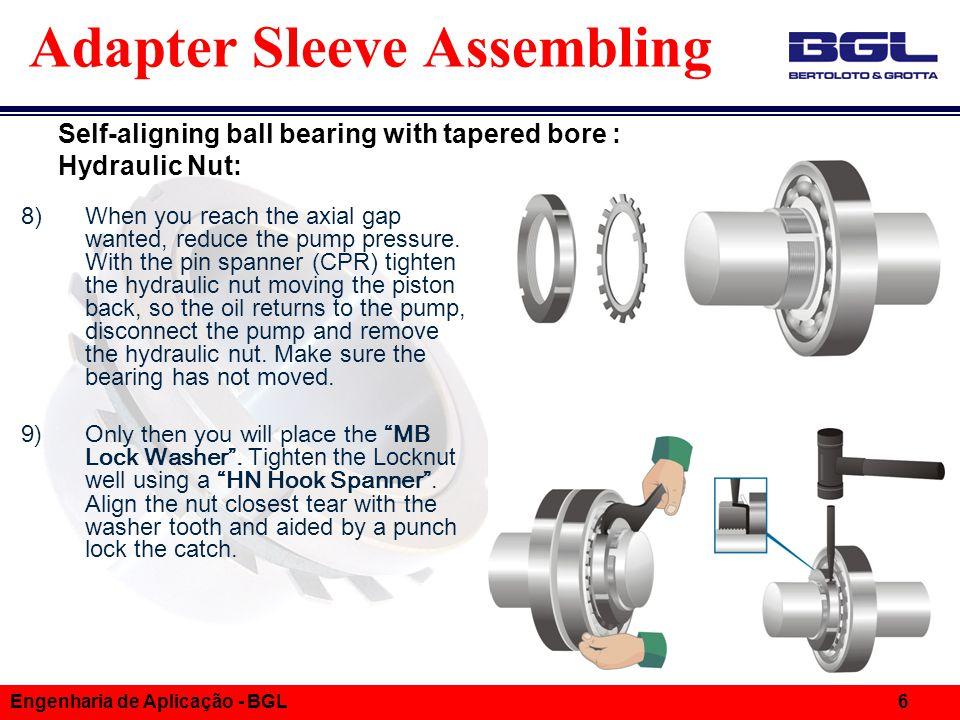 Informações Técnicas Engenharia de Aplicação - BGL 6 Adapter Sleeve Assembling 8)When you reach the axial gap wanted, reduce the pump pressure.
