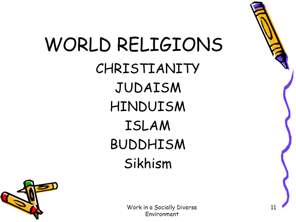 Work in a Socially Diverse Environment 11 WORLD RELIGIONS CHRISTIANITY JUDAISM HINDUISM ISLAM BUDDHISM Sikhism