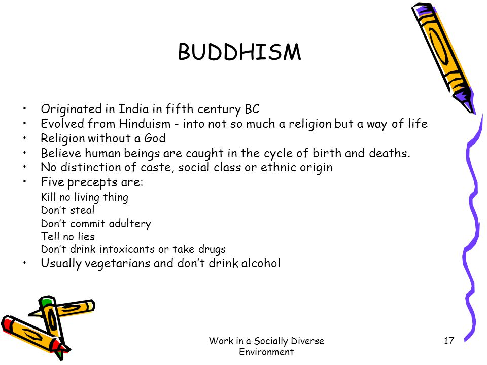 Work in a Socially Diverse Environment 17 BUDDHISM Originated in India in fifth century BC Evolved from Hinduism - into not so much a religion but a w
