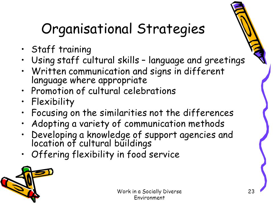 Work in a Socially Diverse Environment 23 Organisational Strategies Staff training Using staff cultural skills – language and greetings Written commun