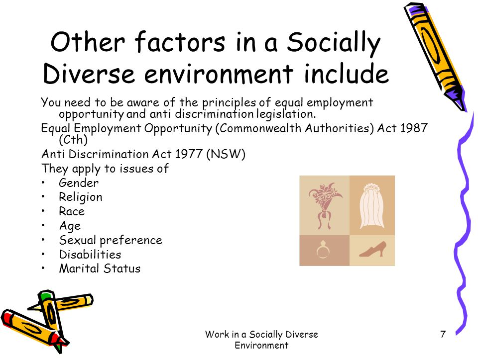 Work in a Socially Diverse Environment 7 Other factors in a Socially Diverse environment include You need to be aware of the principles of equal emplo