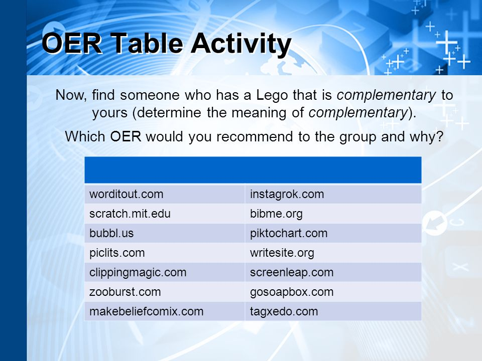 OER Table Activity worditout.cominstagrok.com scratch.mit.edubibme.org bubbl.uspiktochart.com piclits.comwritesite.org clippingmagic.comscreenleap.com zooburst.comgosoapbox.com makebeliefcomix.comtagxedo.com Now, find someone who has a Lego that is complementary to yours (determine the meaning of complementary).