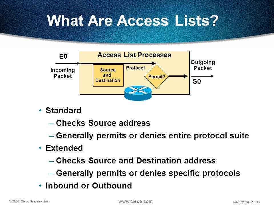 © 2000, Cisco Systems, Inc. www.cisco.com ICND v1.0a10-11 Standard –Checks Source address –Generally permits or denies entire protocol suite Extended