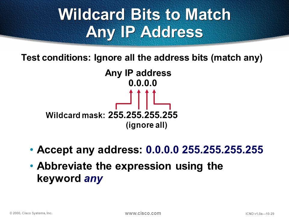 © 2000, Cisco Systems, Inc. www.cisco.com ICND v1.0a10-29 Accept any address: 0.0.0.0 255.255.255.255 Abbreviate the expression using the keyword any