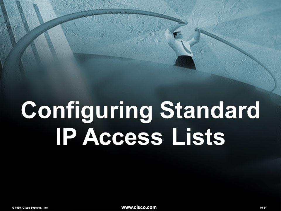 © 1999, Cisco Systems, Inc. www.cisco.com 10-31 Configuring Standard IP Access Lists