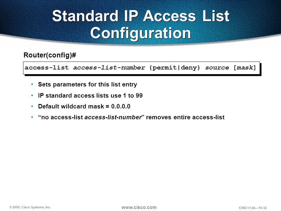 © 2000, Cisco Systems, Inc. www.cisco.com ICND v1.0a10-32 Standard IP Access List Configuration access-list access-list-number {permit|deny} source [m