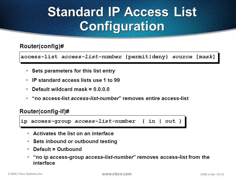 © 2000, Cisco Systems, Inc. www.cisco.com ICND v1.0a10-33 access-list access-list-number {permit|deny} source [mask] Router(config)# Activates the lis