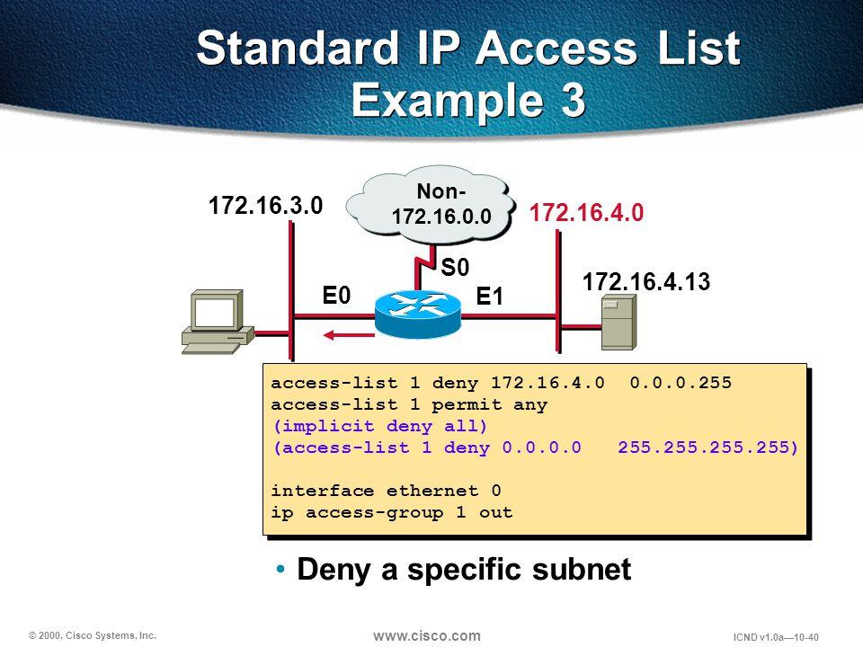 © 2000, Cisco Systems, Inc. www.cisco.com ICND v1.0a10-40 access-list 1 deny 172.16.4.0 0.0.0.255 access-list 1 permit any (implicit deny all) (access