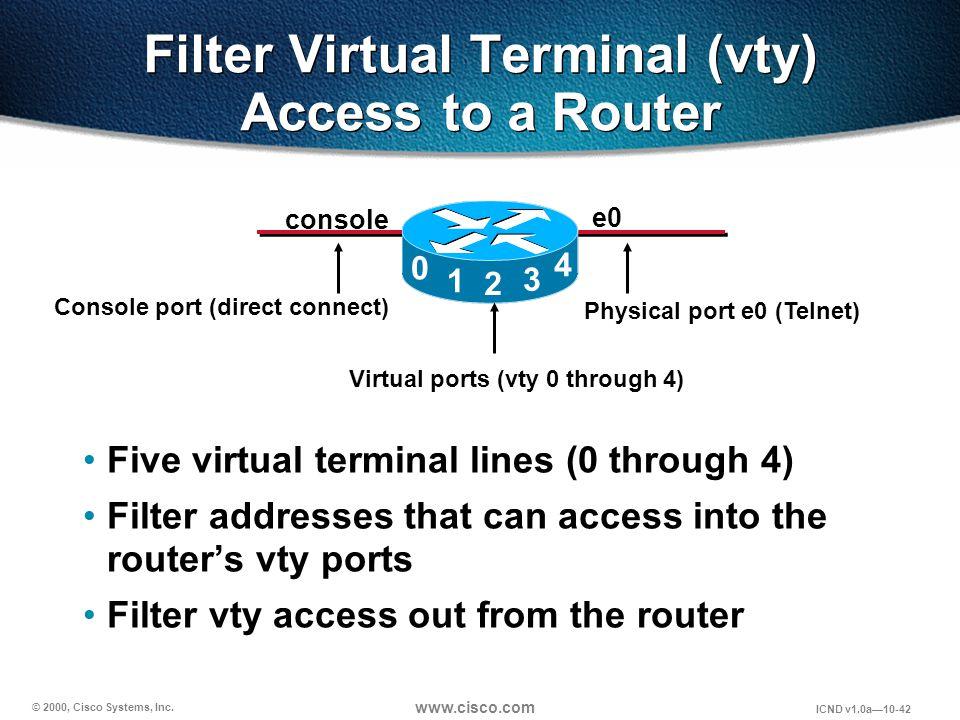 © 2000, Cisco Systems, Inc. www.cisco.com ICND v1.0a10-42 Filter Virtual Terminal (vty) Access to a Router Five virtual terminal lines (0 through 4) F