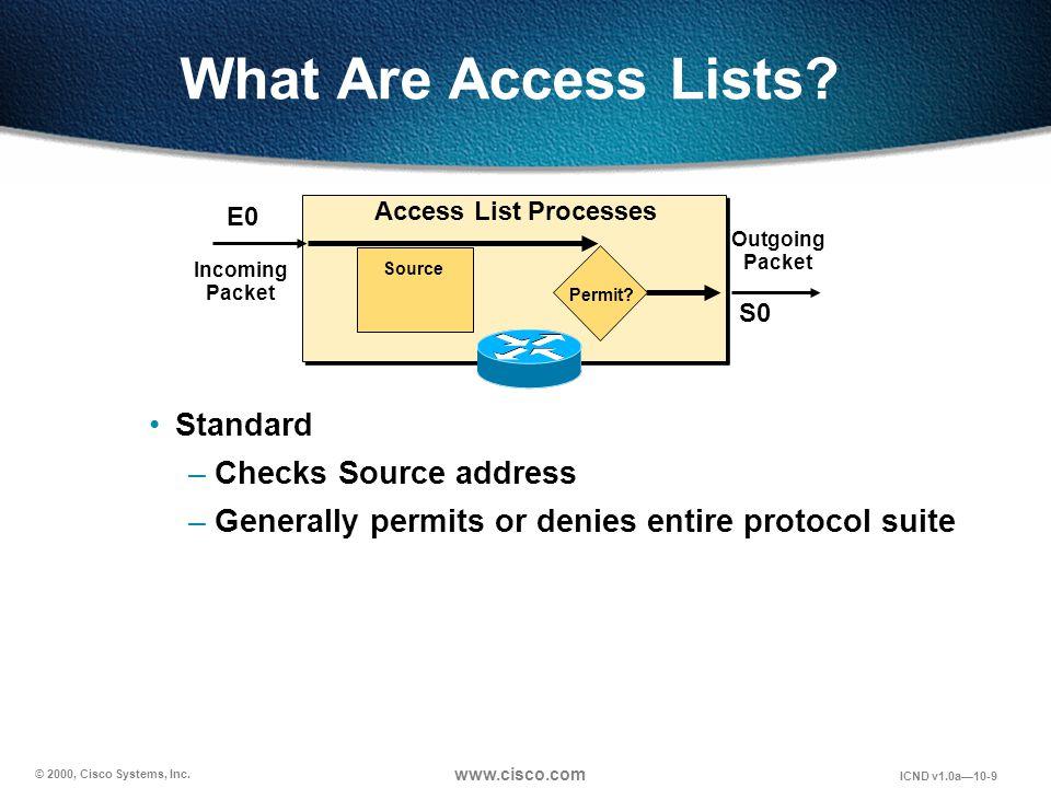 © 2000, Cisco Systems, Inc. www.cisco.com ICND v1.0a10-9 What Are Access Lists? Standard –Checks Source address –Generally permits or denies entire pr