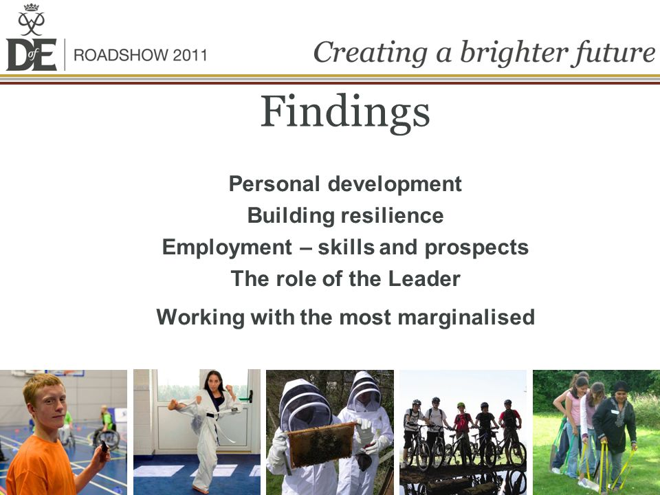 Findings Personal development Building resilience Employment – skills and prospects The role of the Leader Working with the most marginalised