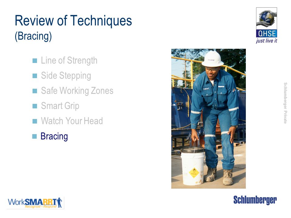 Schlumberger Private Review of Techniques (Bracing) Line of Strength Side Stepping Safe Working Zones Smart Grip Watch Your Head Bracing