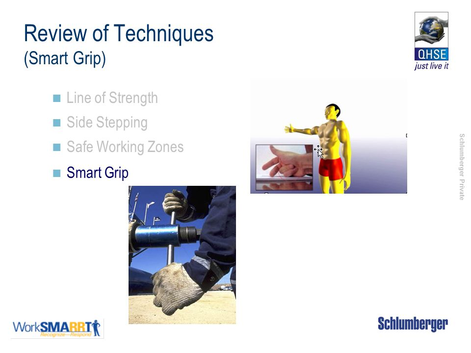Schlumberger Private Review of Techniques (Smart Grip) Line of Strength Side Stepping Safe Working Zones Smart Grip