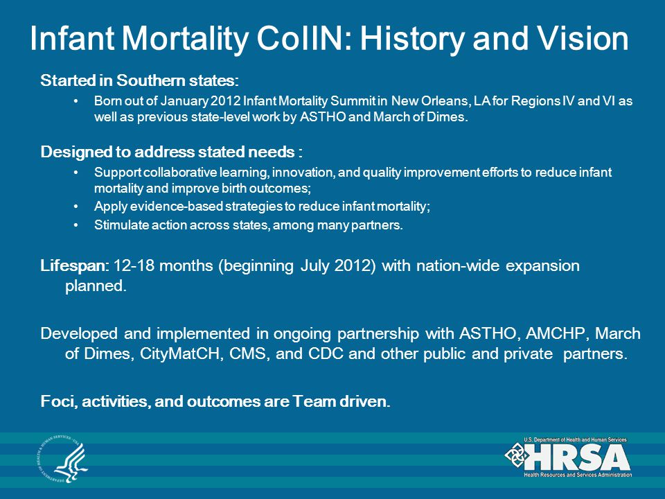 Infant Mortality CoIIN: History and Vision Started in Southern states: Born out of January 2012 Infant Mortality Summit in New Orleans, LA for Regions