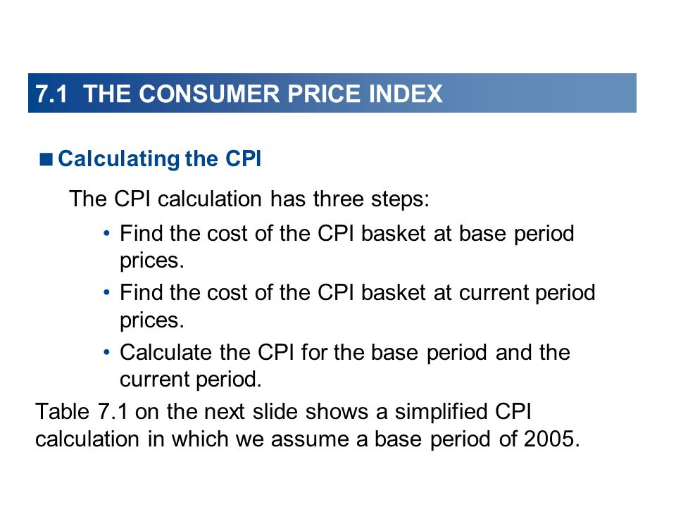 7.1 THE CONSUMER PRICE INDEX Calculating the CPI The CPI calculation has three steps: Find the cost of the CPI basket at base period prices.