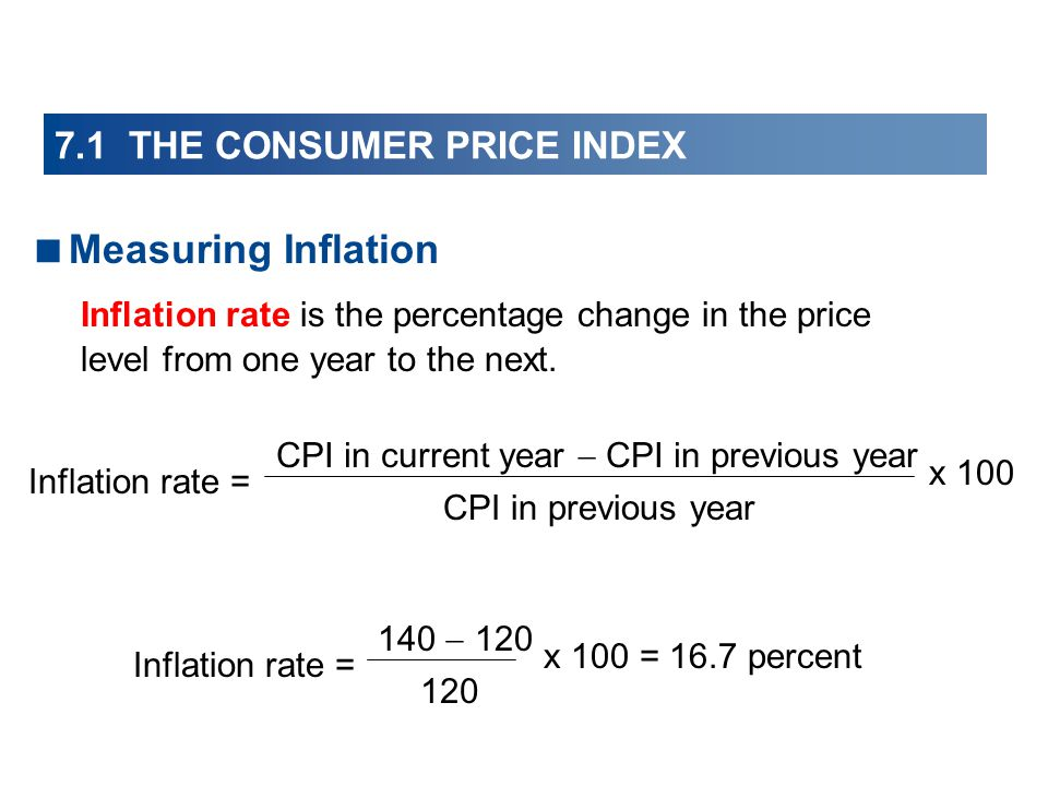 7.1 THE CONSUMER PRICE INDEX Measuring Inflation Inflation rate is the percentage change in the price level from one year to the next.