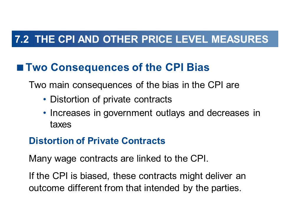 Two Consequences of the CPI Bias Two main consequences of the bias in the CPI are Distortion of private contracts Increases in government outlays and decreases in taxes Distortion of Private Contracts Many wage contracts are linked to the CPI.