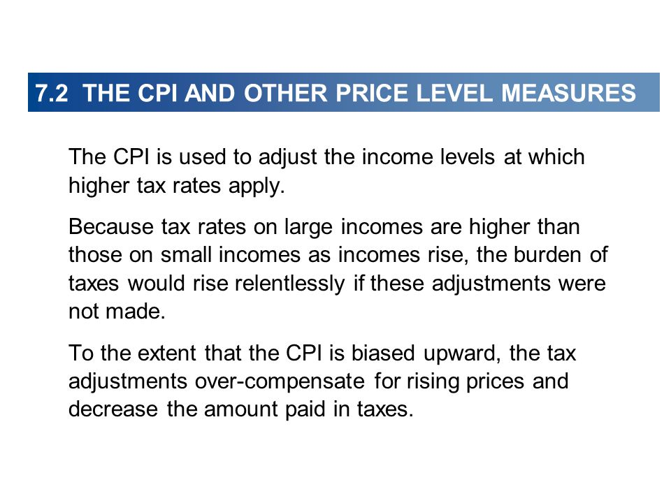 The CPI is used to adjust the income levels at which higher tax rates apply.