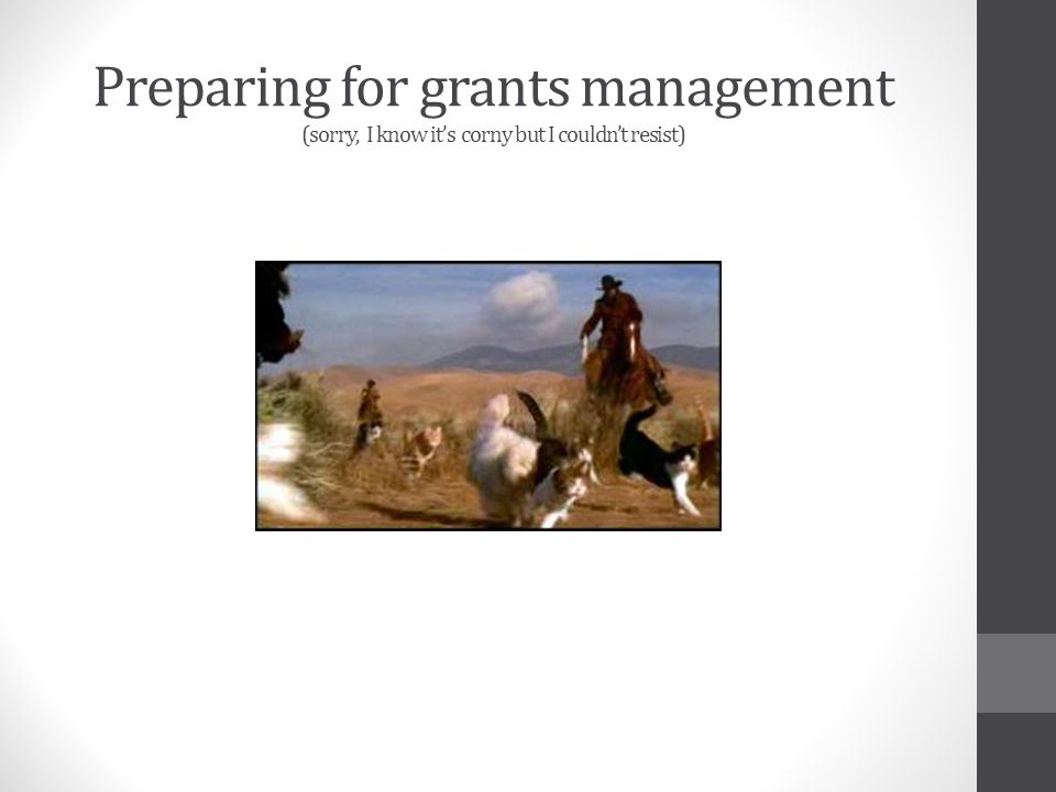 Preparing for grants management (sorry, I know its corny but I couldnt resist)