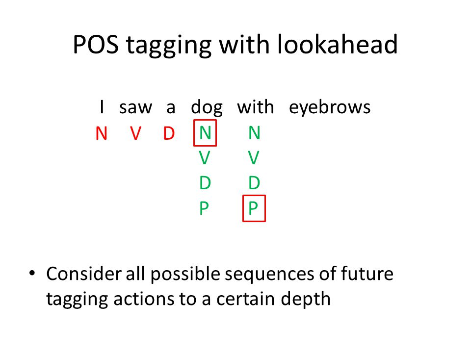 POS tagging with lookahead Consider all possible sequences of future tagging actions to a certain depth I saw a dog with eyebrows NVD NVDPNVDP NVDPNVD
