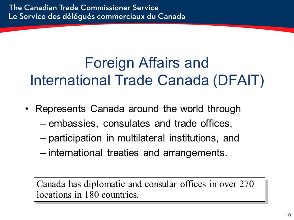 10 Foreign Affairs and International Trade Canada (DFAIT) Represents Canada around the world through –embassies, consulates and trade offices, –participation in multilateral institutions, and –international treaties and arrangements.