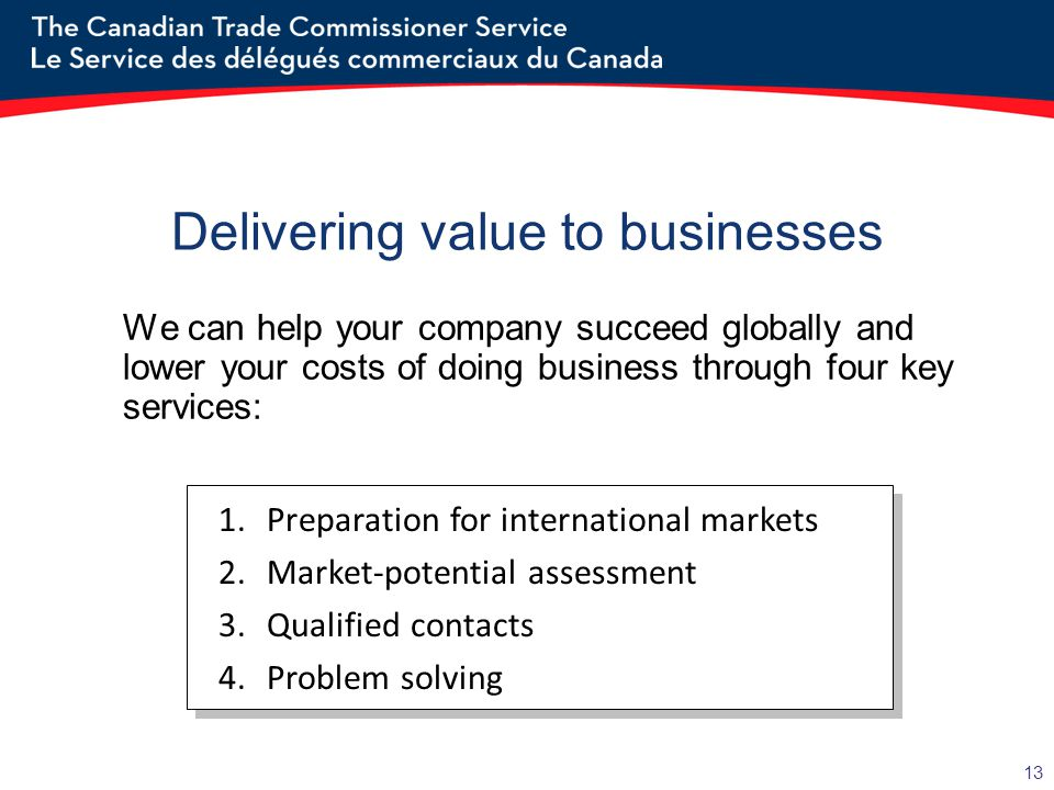 13 Delivering value to businesses We can help your company succeed globally and lower your costs of doing business through four key services: 1.