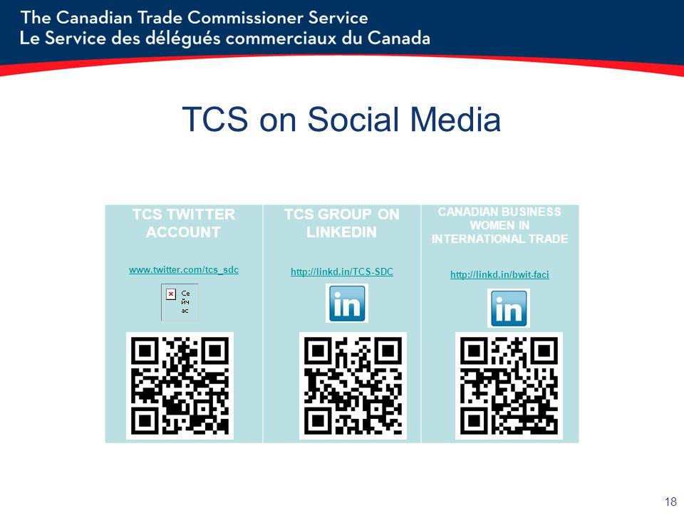 18 TCS on Social Media TCS TWITTER ACCOUNT www.twitter.com/tcs_sdc TCS GROUP ON LINKEDIN http://linkd.in/TCS-SDC CANADIAN BUSINESS WOMEN IN INTERNATIONAL TRADE http://linkd.in/bwit-faci
