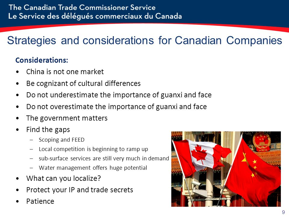 9 Strategies and considerations for Canadian Companies Considerations: China is not one market Be cognizant of cultural differences Do not underestimate the importance of guanxi and face Do not overestimate the importance of guanxi and face The government matters Find the gaps –Scoping and FEED –Local competition is beginning to ramp up –sub-surface services are still very much in demand –Water management offers huge potential What can you localize.