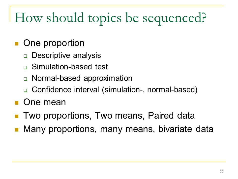 How should topics be sequenced.