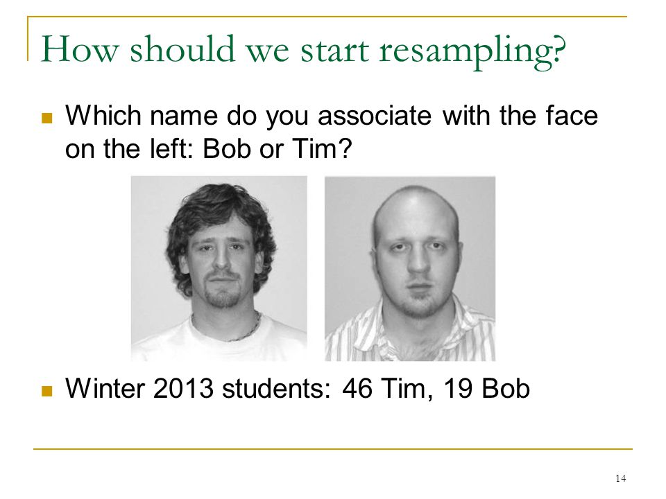 How should we start resampling. Which name do you associate with the face on the left: Bob or Tim.