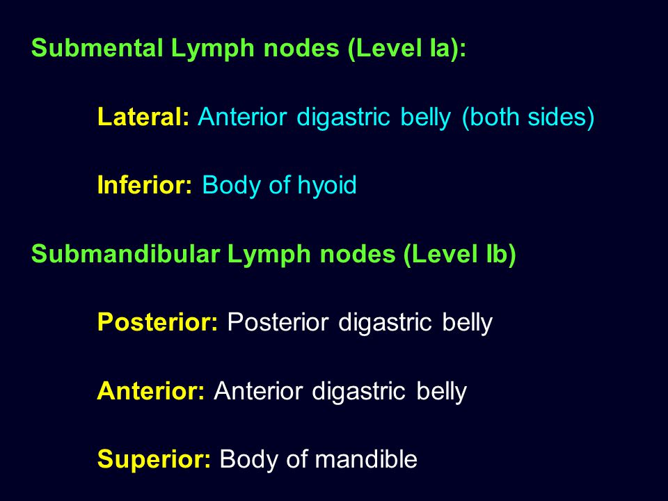 Submental Lymph nodes (Level Ia): Lateral: Anterior digastric belly (both sides) Inferior: Body of hyoid Submandibular Lymph nodes (Level Ib) Posterio