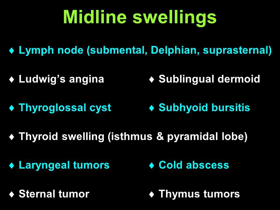 Midline swellings Lymph node (submental, Delphian, suprasternal) Ludwigs angina Sublingual dermoid Thyroglossal cyst Subhyoid bursitis Thyroid swellin
