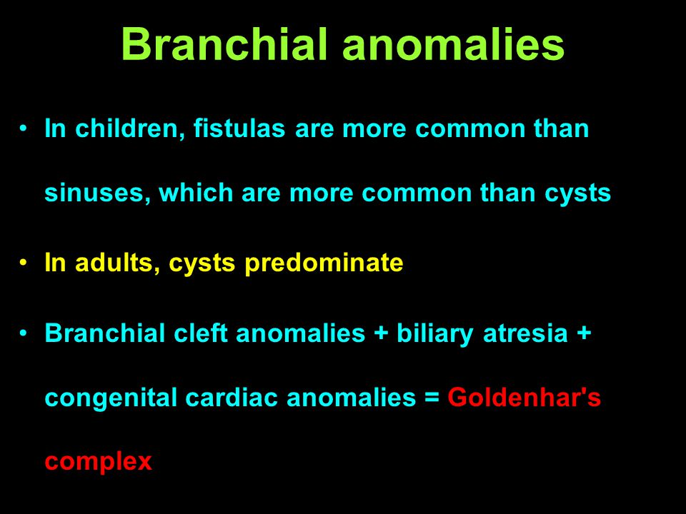 Branchial anomalies In children, fistulas are more common than sinuses, which are more common than cysts In adults, cysts predominate Branchial cleft