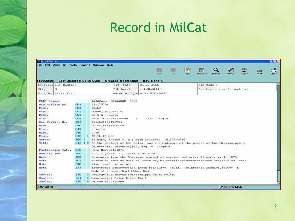 Record in MilCat 8