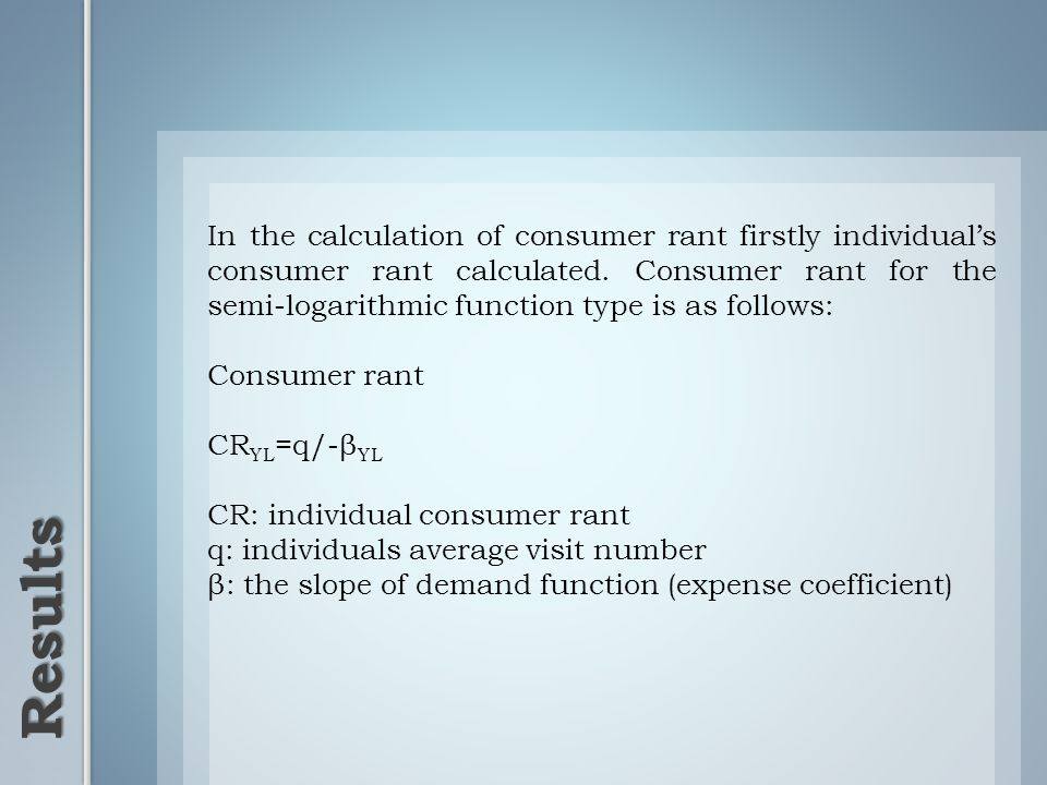 Results In the calculation of consumer rant firstly individuals consumer rant calculated.