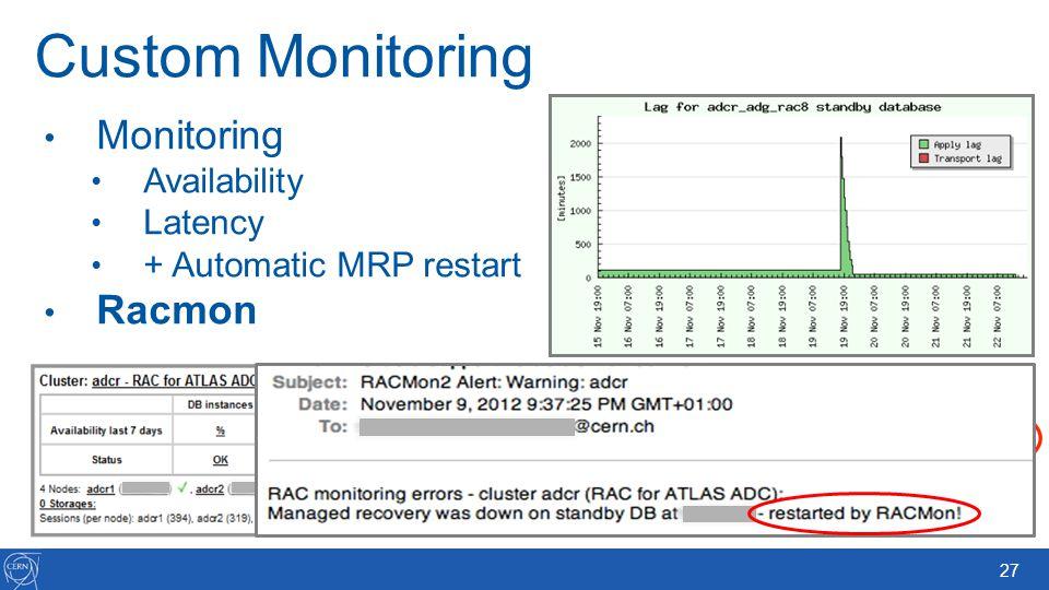 27 Custom Monitoring Monitoring Availability Latency + Automatic MRP restart Racmon