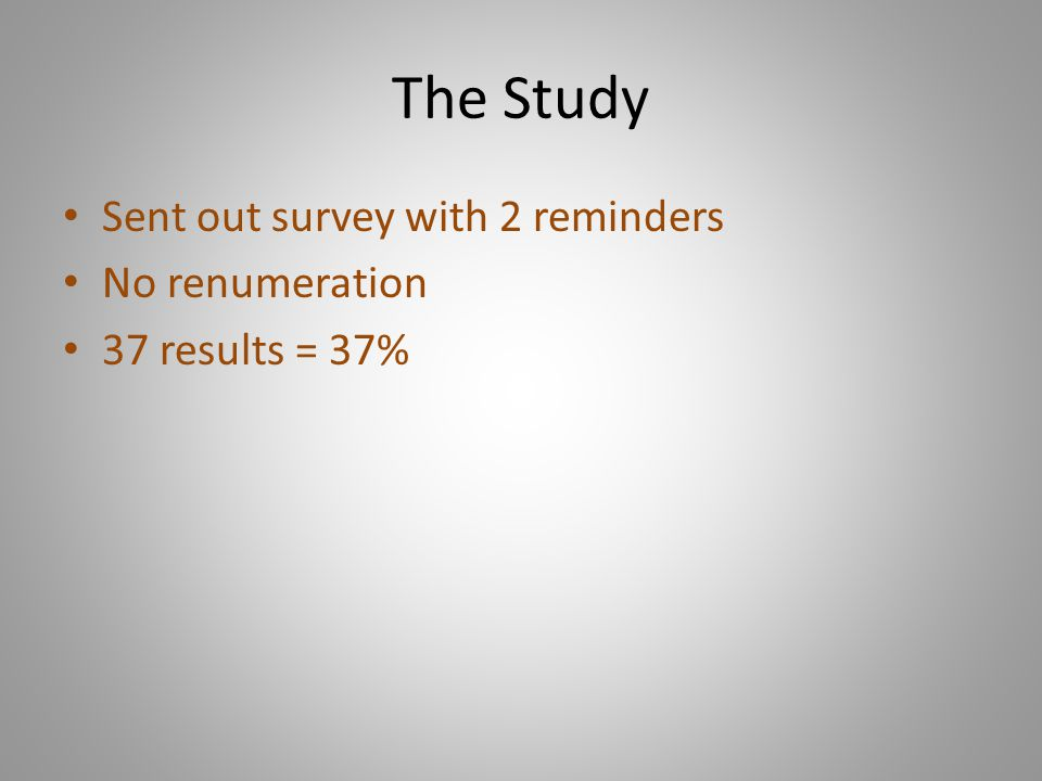 The Study Sent out survey with 2 reminders No renumeration 37 results = 37%